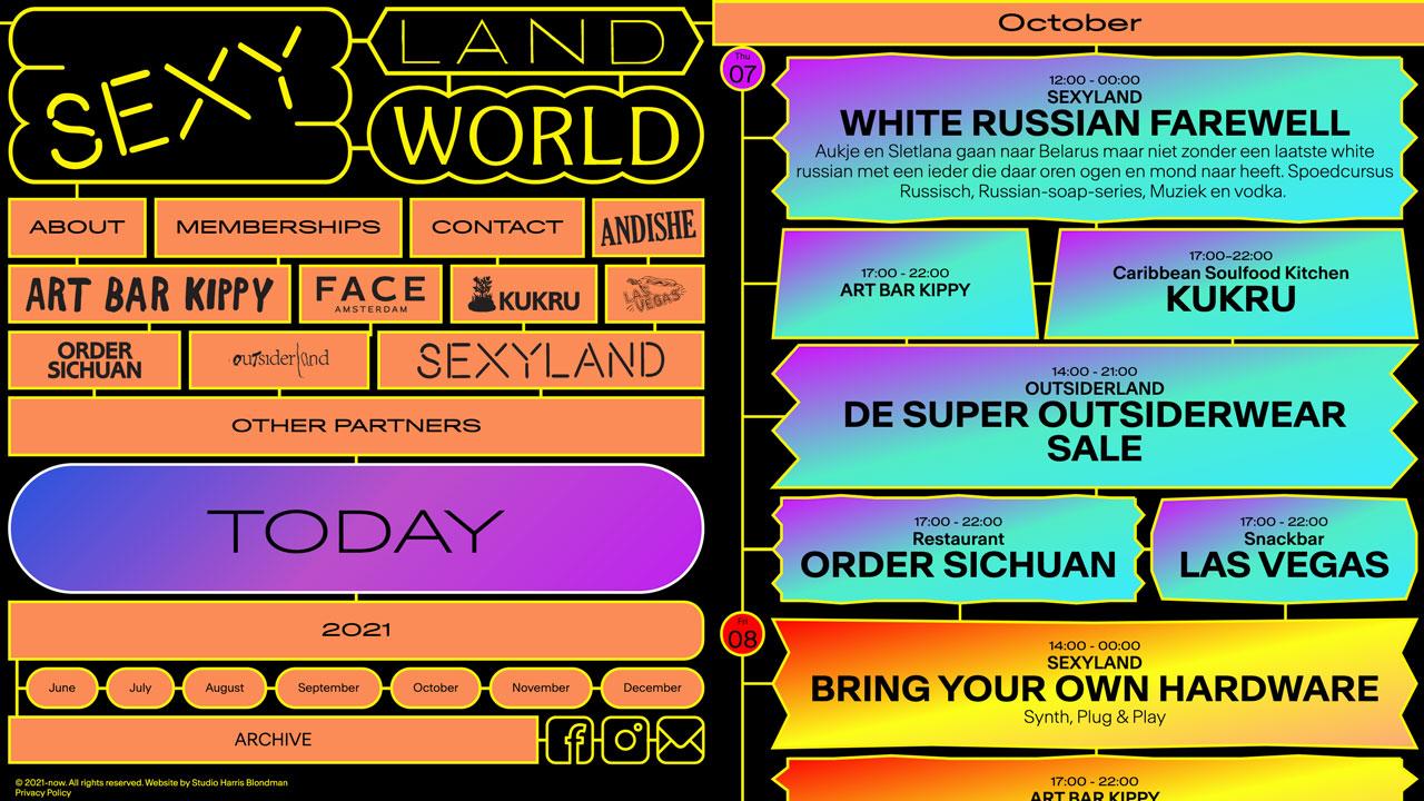 SEXYLAND World, SEXYLAND World is een cultureel clubhuis voor het creatieve (nacht)leven met doorlopende programmering